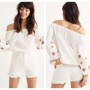 Madewell Embroidered Capri Off-the-shoulder Top